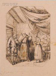 Lot of Three Drawings:      Attributed to Baldassare Calamai (Italian, 1787-1851), Interior Scene
