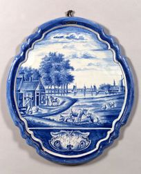 Harlequin Pair of Delft Tin Glazed Earthenware Blue and White Wall Plaques