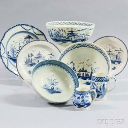 Eight Leeds Blue and White Ceramic Tableware Items