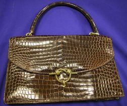 Vintage Brown Crocodile Handbag, Hermes