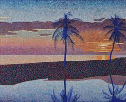 Michael Vinson Clark [called Clark V. Fox] (American, b. 1946)      Sunset with Palm Trees, Florida
