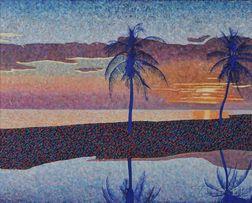 Michael Vinson Clark [called Clark V. Fox] (American, b. 1946)      Sunset with Palm Trees, Florida