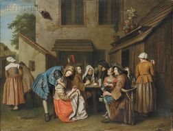 Peter Jacob Horemans (Flemish, 1700-1776)      Figures Gathered in a Tavern Courtyard