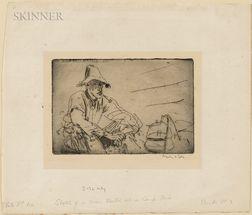 Augustus Edwin John (British, 1878-1961)      A Man Seated by a Camp Fire