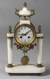 French Marble and Ormolu Mounted Louis XVI-style Mantel Clock