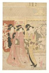 Eizan:  Three Courtesans in Front of a Publishing House with a Large Image   of Hoitei by the Door