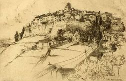 Lot of Three Architectural Views:    John Taylor Arms (American, 1887-1953), Saint Paul, Alpes Maritimes
