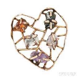 Sterling Silver and Gemstone Brooch, Arthur King