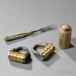 Two Antique Brass and Steel Combination Padlocks, Brass Case, and Folding Fork