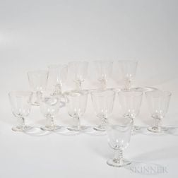 Set of Twelve Twist-stem Steuben Goblets