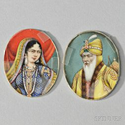 Two Miniature Portrait on Bone Plaques