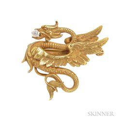 Art Nouveau 14kt Gold and Diamond Watch Pin