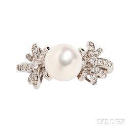 Platinum, Cultured Pearl, and Diamond