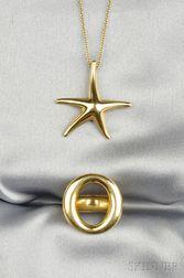 Two 18kt Gold Jewelry Items, Elsa Peretti, Tiffany & Co.