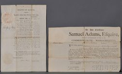 Adams, Samuel (1722-1803) Printed Document Signed, 1 January 1796.