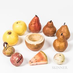 Small Group of Carved and Cast Fruit and Fruit-form Objects