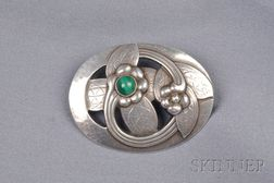 Sterling Silver and Malachite Brooch, Georg Jensen