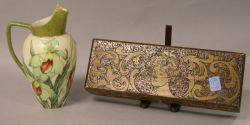 Iris Handpainted Porcelain Ewer and an Art Nouveau Pyrography Decorated Wooden Glove Box.
