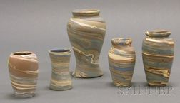 Five Niloak Pottery Vases