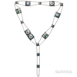 Arts and Crafts Silver and Enamel Belt