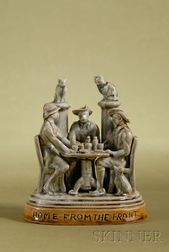 Doulton Lambeth Salt-glaze Figural Group of A Gathering of Boer War Soldiers