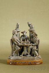 Doulton Lambeth Salt-glaze Figural Group of A Gathering of Boer War Soldiers