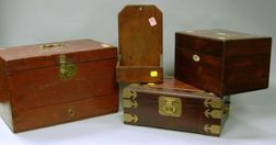 Wooden Wall Box, Asian Brass Mounted Wooden Jewelry Box, Red Stained Wooden Apothecary Box, and a Rosewood Veneer Tea Caddy.