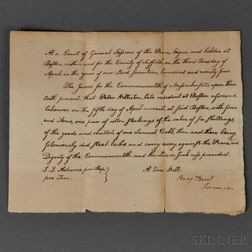 Adams, John Quincy (1767-1848) Autograph Document Signed, April, 1794.