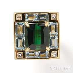 18kt Gold, Tourmaline, Aquamarine, and Diamond Ring