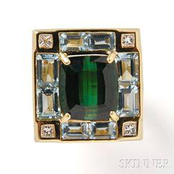 18kt Gold, Tourmaline, Aquamarine, and Diamond Ring