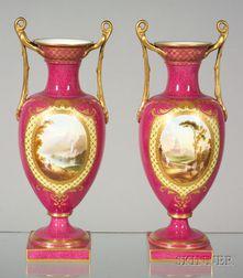 Pair of Spode's Copeland Handpainted China Vases