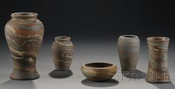 Four Niloak Pottery Vases and a Bowl