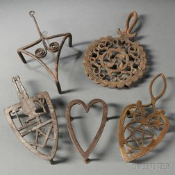 Five Wrought and Cast Metal Trivets