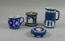 Four Wedgwood Dark Blue Jasper Dip Items