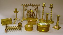 Eleven Brass Table Items