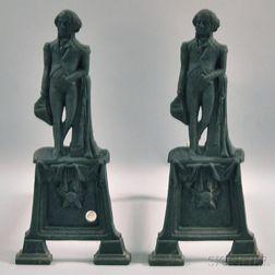 Pair of Cast Iron George Washington Figural Andirons