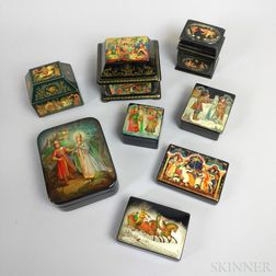 Eight Russian Painted and Lacquered Boxes