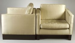 Three Silk Upholstered Chairs