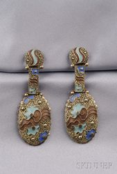 Art Deco Silver-gilt and Enamel Earpendants, Theodor Fahrner