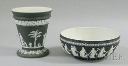 Wedgwood Black Jasper Dip Bough Pot and Salad Bowl