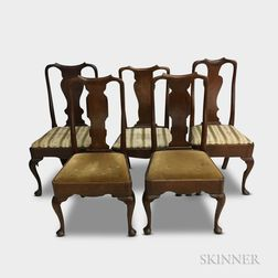 Five Queen Anne Mahogany Side Chairs