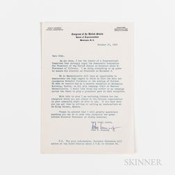 Kennedy, John F. (1917-1963) Typed Letter Secretarially Signed to Dick [Richard S. Kelley], 17 October 1952.