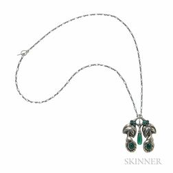 .830 Silver and Green Onyx Pendant, Georg Jensen