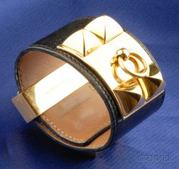 Black Leather Bracelet, Hermes, Paris