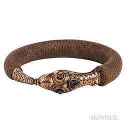 Victorian Gold and Garnet Snake and Hairwork Bracelet