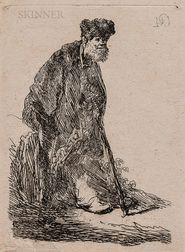Rembrandt Harmensz van Rijn (Dutch, 1606-1669)      Man in a Coat and Fur Cap Leaning Against a Bank