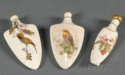 Three Royal Worcester Porcelain Perfume Bottles