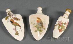 Three Royal Worcester Porcelain Perfume Bottles