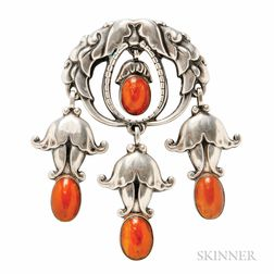 .830 Silver and Amber Brooch, Georg Jensen