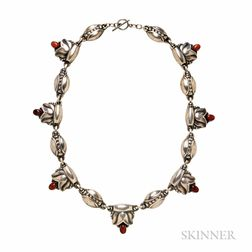.830 Silver and Amber Necklace, Georg Jensen